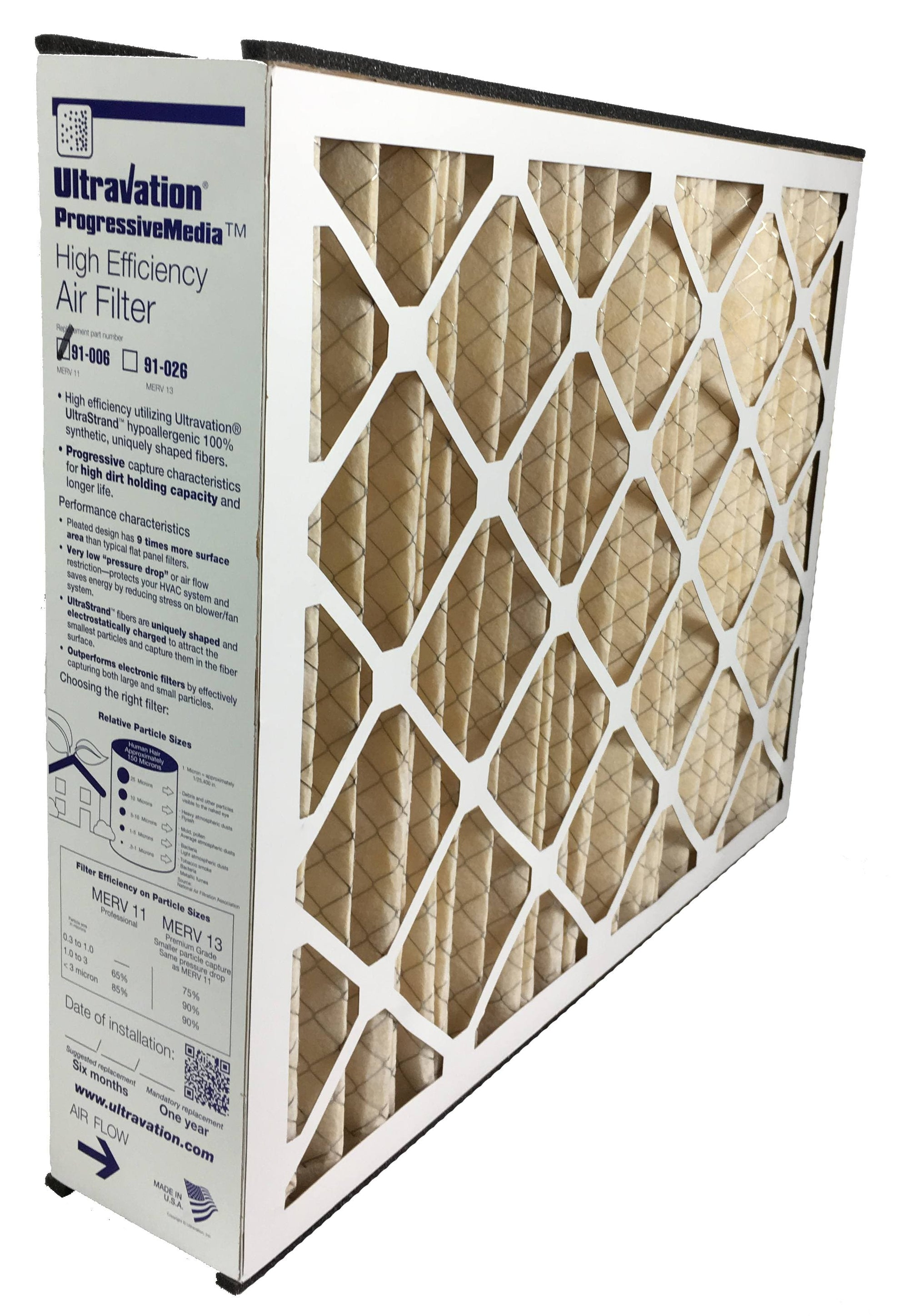Whole House Airfilter - Ultravation 91-006 20x25x5 MERV 11 Replacement Furnace Filter - 1 Pack