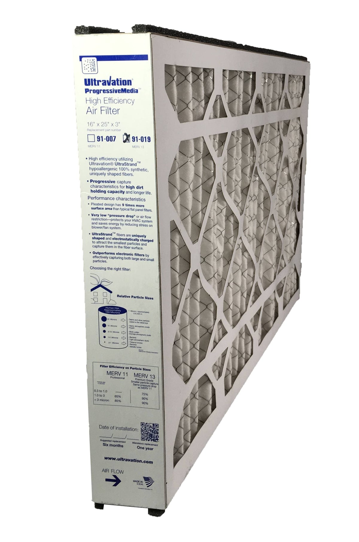 Ultravation 91-019 16x25x3 MERV 13 Replacement Furnace Filter - 1 Pack