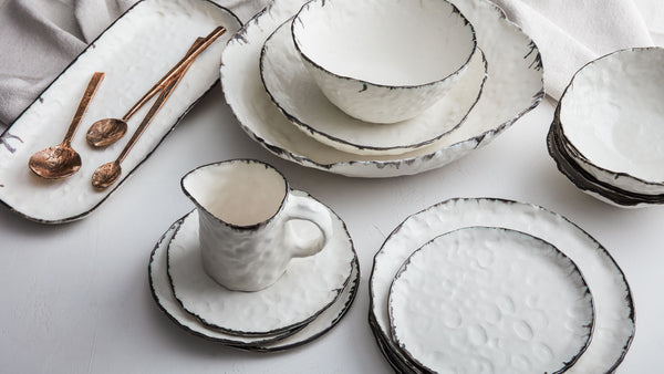 ... elegance whether you prefer a modern place setting or something more formal. Just add one or all three of these porcelain bowls to create your own look. & DBO HOME Handmade Pinch Porcelain Serving Bowls