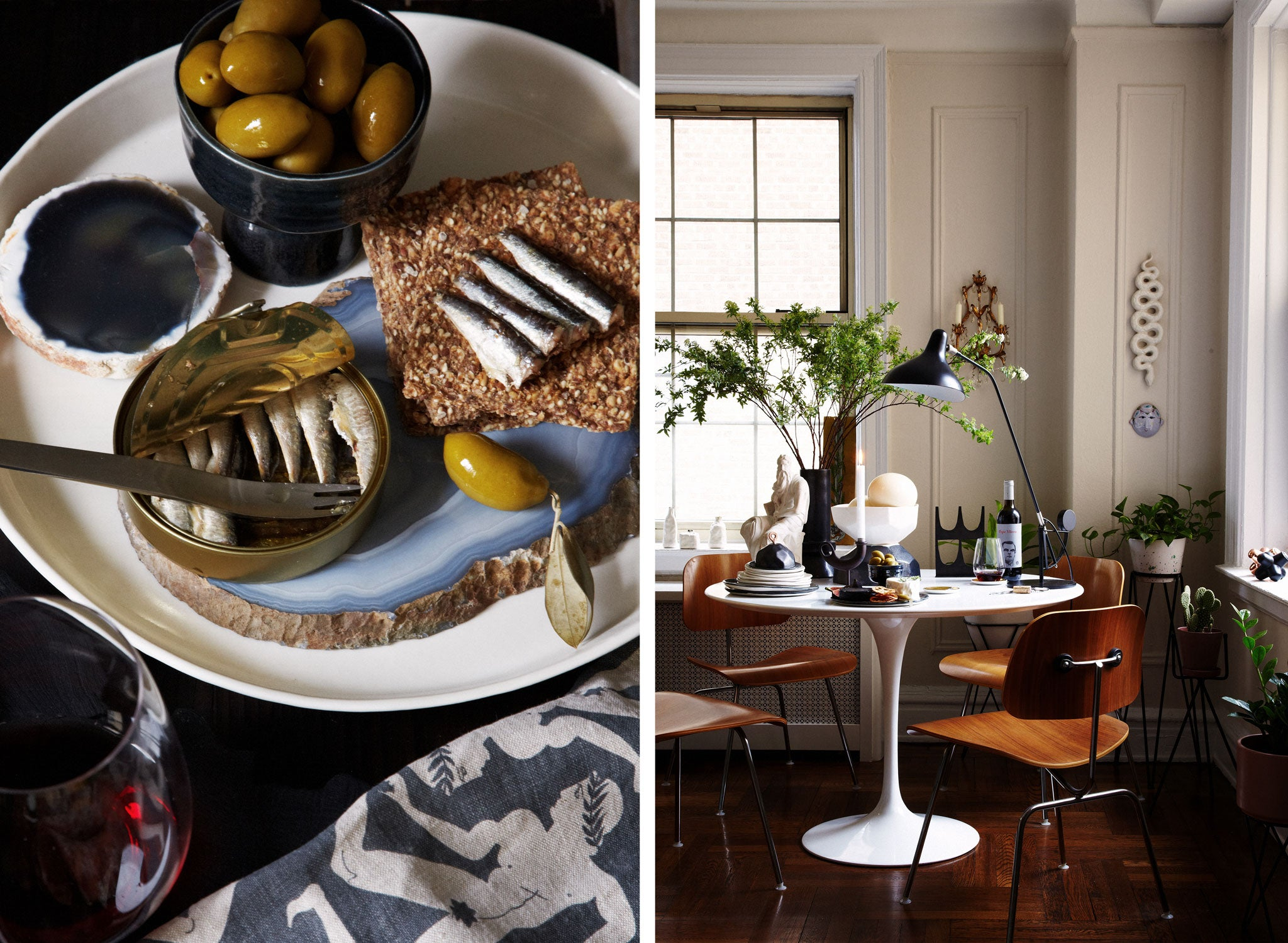 Styled by Marcus Hay, sardines and olives served on DBO HOME ceramics and a dining room with DBO HOME ceramics