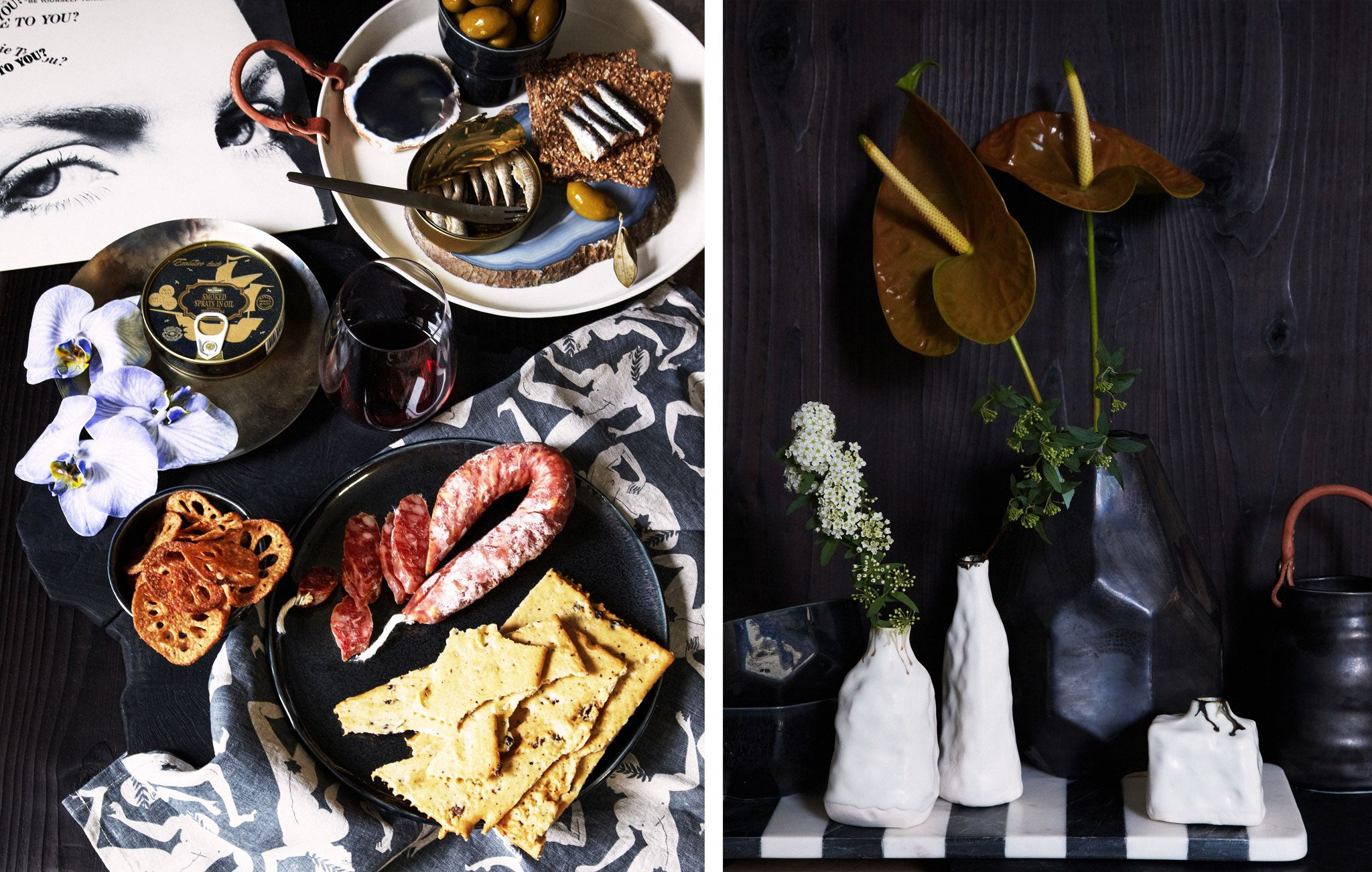 Marcus Hay Tastemakers Table Styling of DBO HOME Artisan Ceramics with table spread and vases