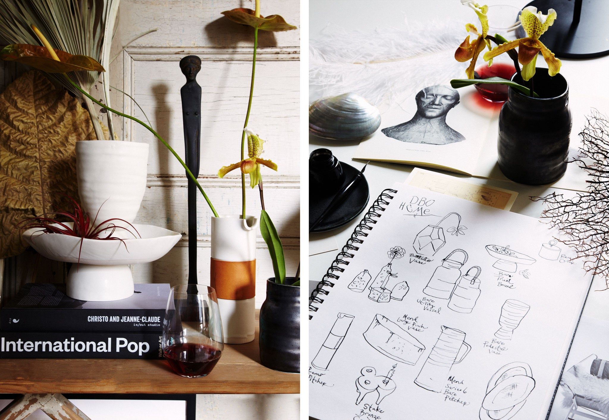 DBO HOME artisan ceramic vases styled by Marcus Hay with a notebook of drawings and sketches of DBO HOME pieces