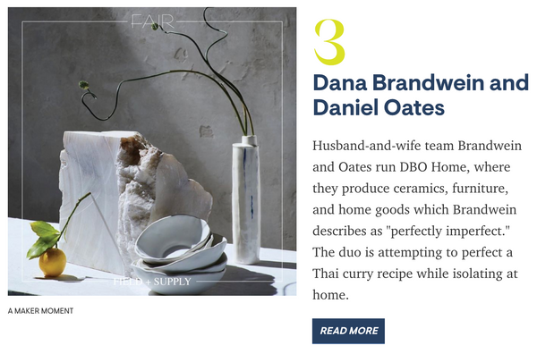 House Beautiful Article On Field + Supply Featuring DBO HOME