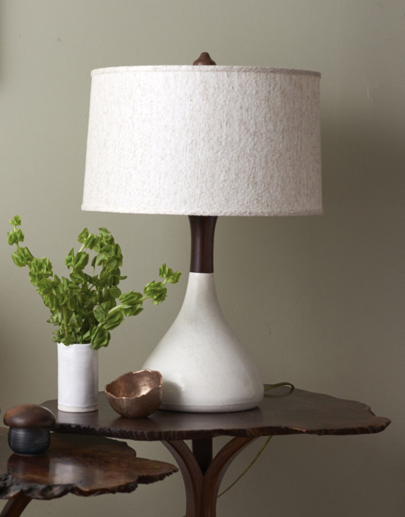 Bella Porcelain and Walnut Handmade Table Lamp