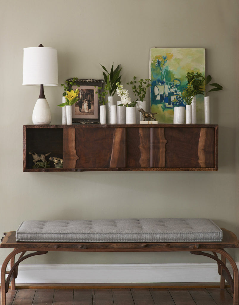 Daniel Oates for DBO HOME Claro Walnut Live Edge Floating Sideboard and Bentleg Bench