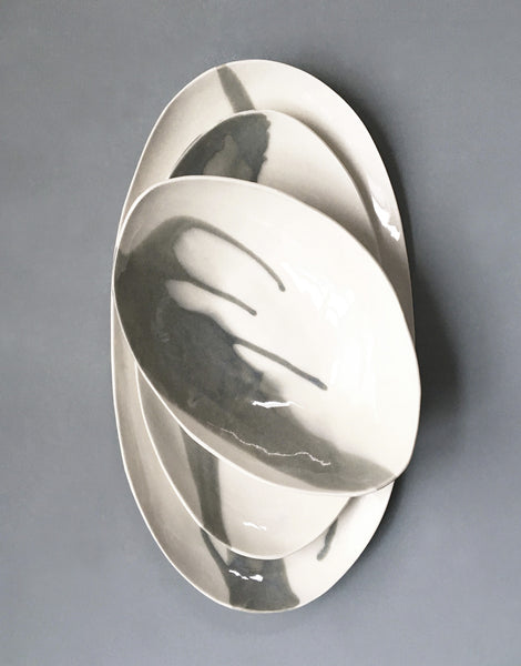 DBO HOME Handmade Porcelain Instant Karma Oval Serving Platters and Bowl
