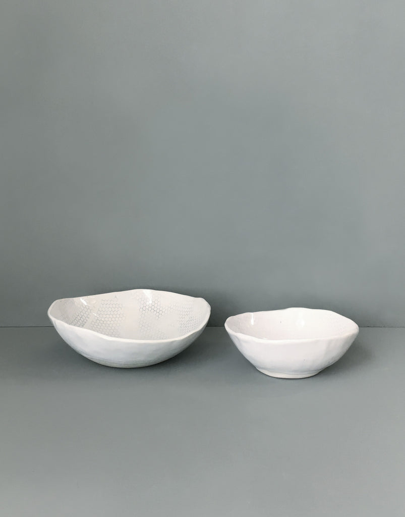 DBO HOME Handmade porcelain honeycomb bowls side view