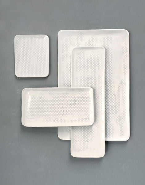 DBO HOME Handmade Porcelain Honeycomb Rectangle Platters, Trays and Plates