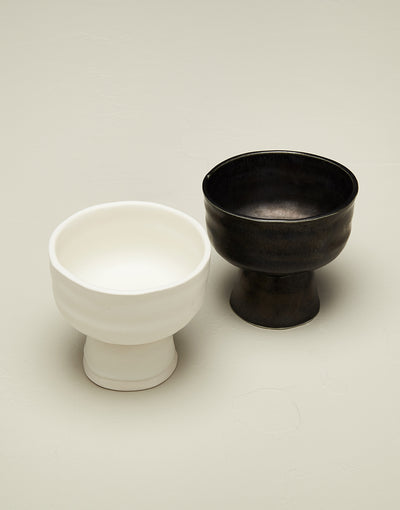 DBO HOME artisan ceramic small batch dessert coupe in white and black glaze