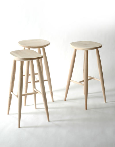 Handmade Bleached Maple Wood Bar Stool