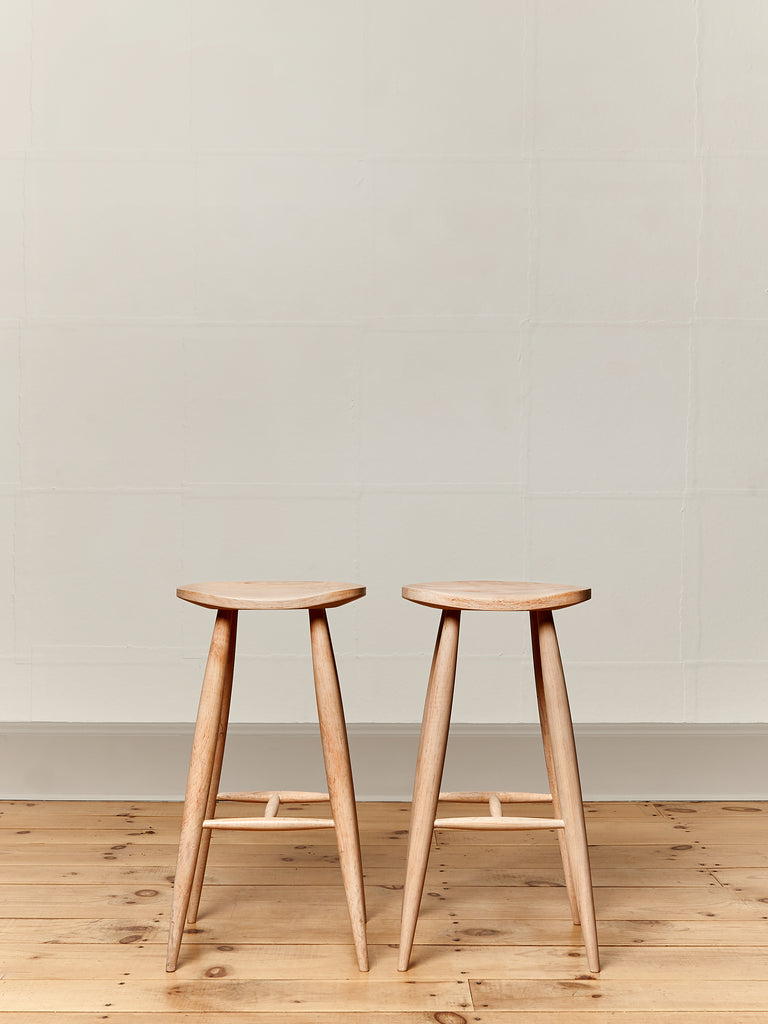 Devon Stools Set of Tall Bleached Maple Kitchen Dining Stools Farmhouse Chic