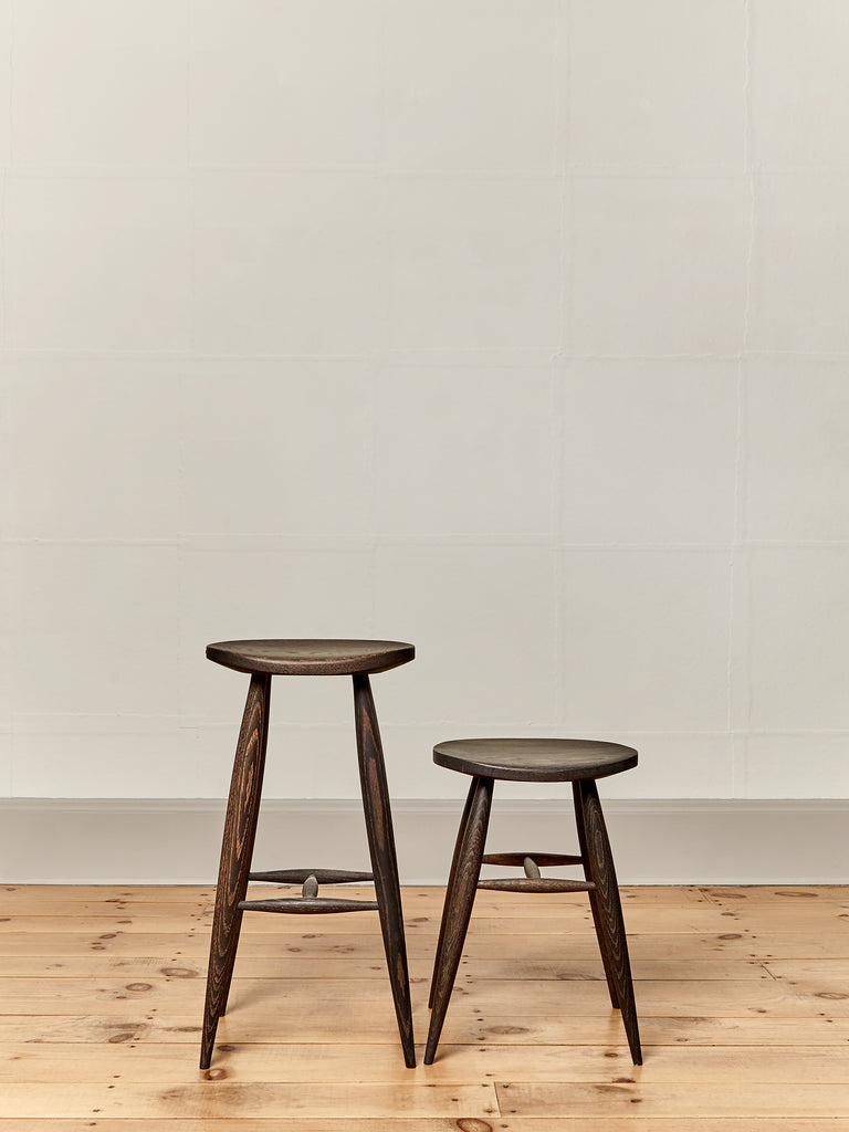 Devon Stools Set of Short and Tall Oxidized Oak Kitchen Dining Stools Farmhouse Chic