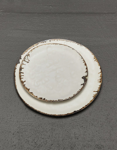 artisan ceramic luxury dinner plate and salad plate, textured white porcelain with decorative bronze drip edges