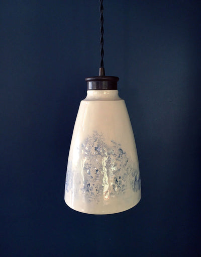 Luxury ceramic pendant light in white and blue with brass hardware