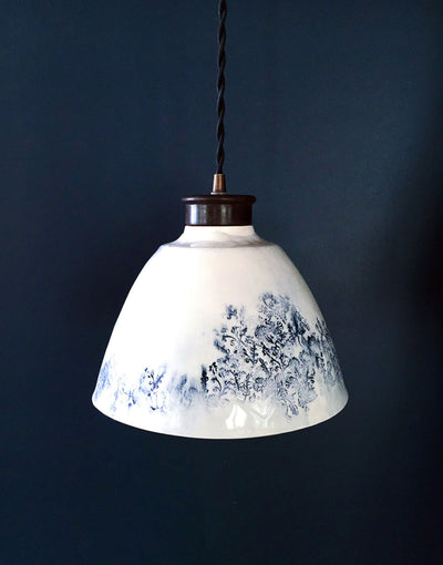 DBO HOME luxury ceramic pendant light in white and blue with brass hardware