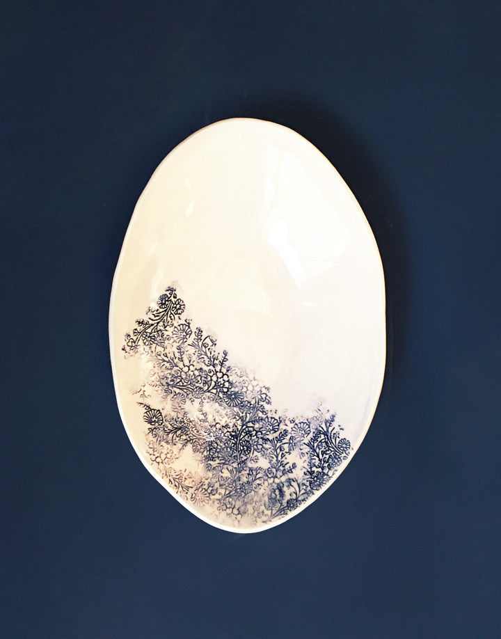 DBO HOME Handmade Porcelain Kashmir Oval Serving Bowl