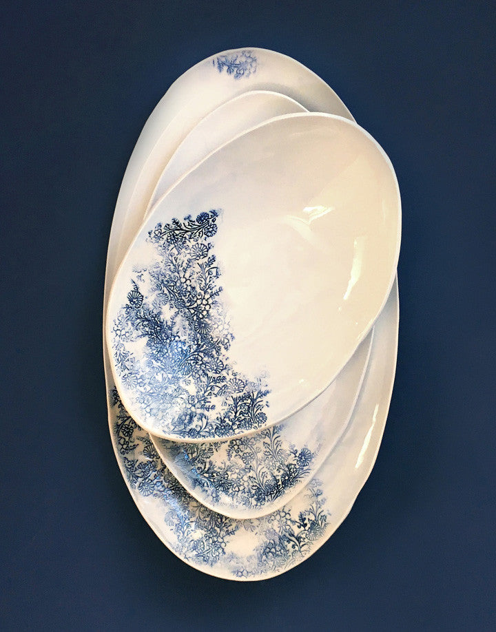 DBO HOME Handmade Porcelain Kashmir Oval Serving Platters and Bowl