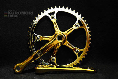 Gold Plated Non-Flutted Super Record Campagnolo Pista Crankset.