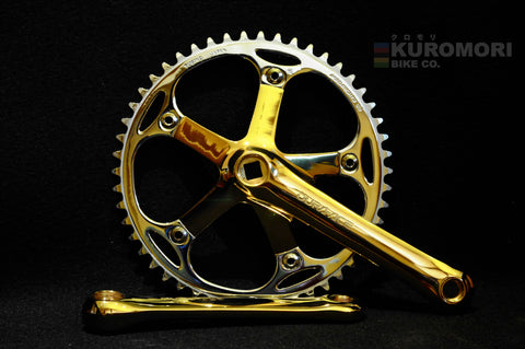 Gold Plated Dura Ace FC-7600 Crankset.