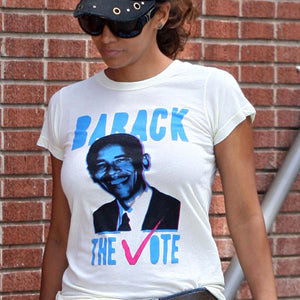 HALLE BERRY LOCAL CELEBRITY BARACK THE VOTE T-SHIRT