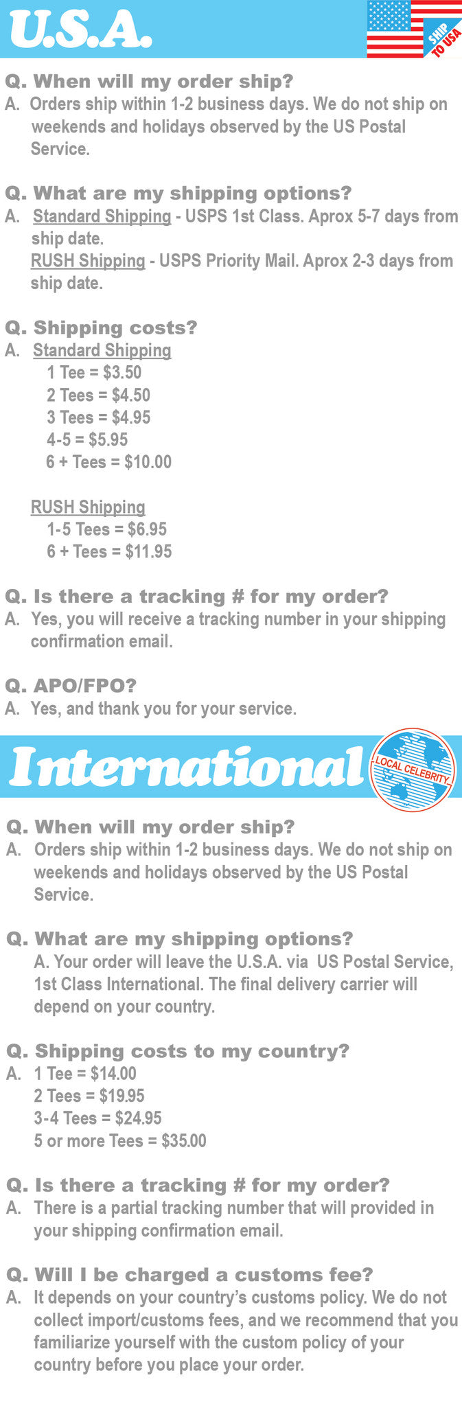 Local Celebrity Shipping Info Domestic & International