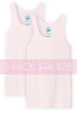 2PK Classic Beater Tank, Pale Pink