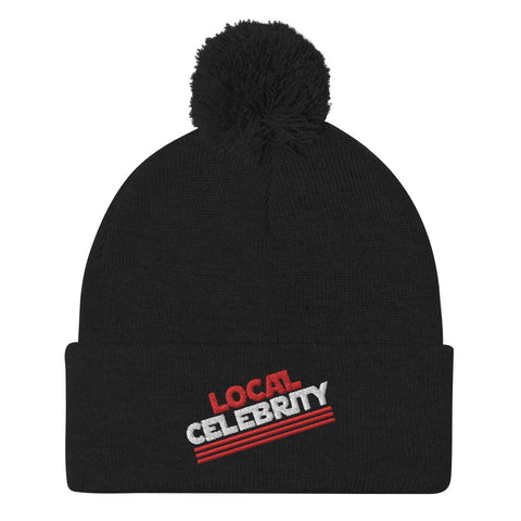Local Celebrity® Pom-Pom Beanie, Red Logo