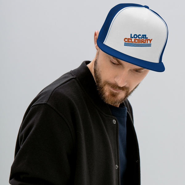 Local Celebrity® Embroidered Trucker Cap, Royal Blue