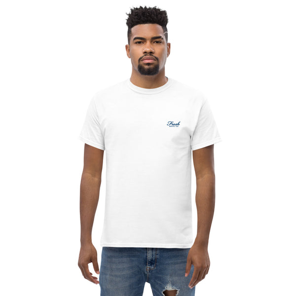 Heavyweight Fresh White Tee® Embroidered Royal Blue Logo
