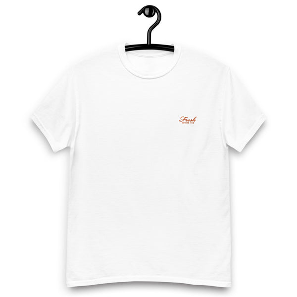 Heavyweight Fresh White Tee® Embroidered Orange Logo
