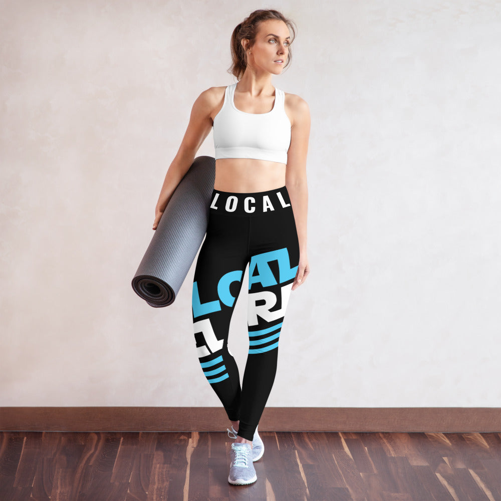 Local Celebrity® Yoga Leggings, Cyan Logo