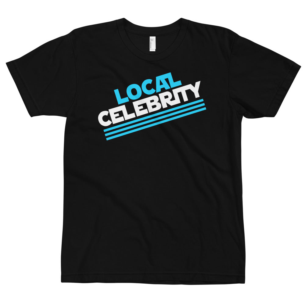 Local Celebrity® Cyan Logo Tee. Made in the USA