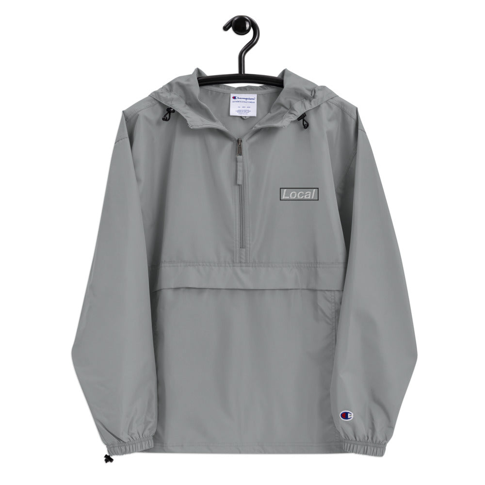 Embroidered Local Celebrity x Champion Packable Jacket, Grey