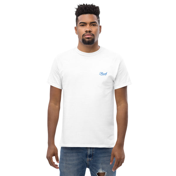 Heavyweight Fresh White Tee® Embroidered Carolina Blue Logo