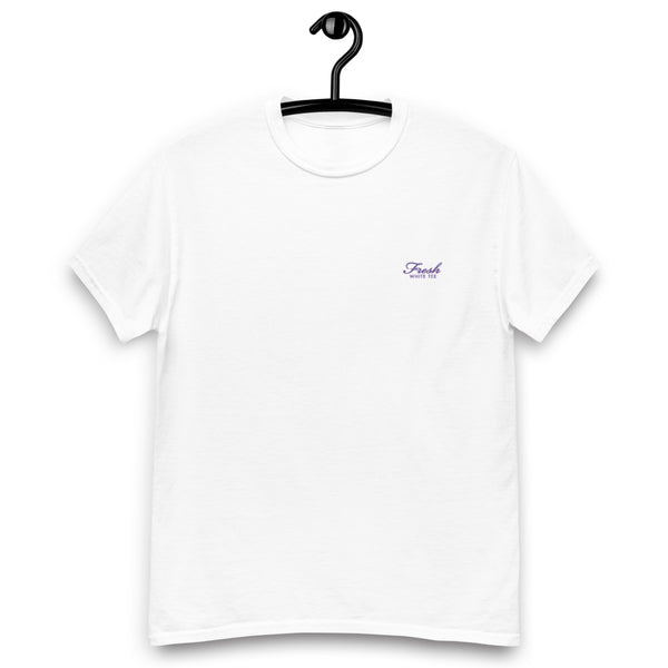 Heavyweight Fresh White Tee® Embroidered Purple Logo