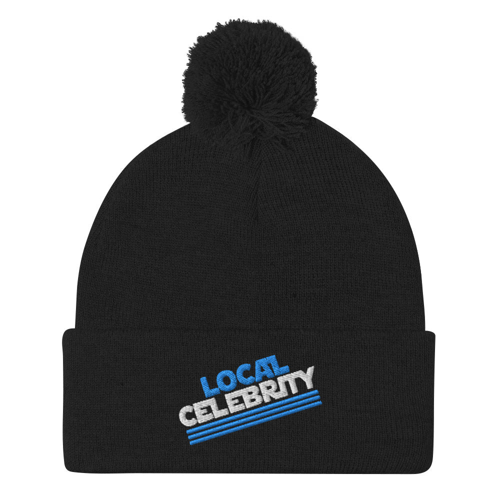 Local Celebrity® Pom-Pom Beanie, Cyan Logo
