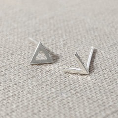 Triangle and V Shape Mismatched Earrings
