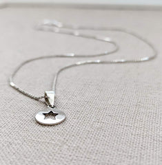 Sterling Silver Star Disc Necklace