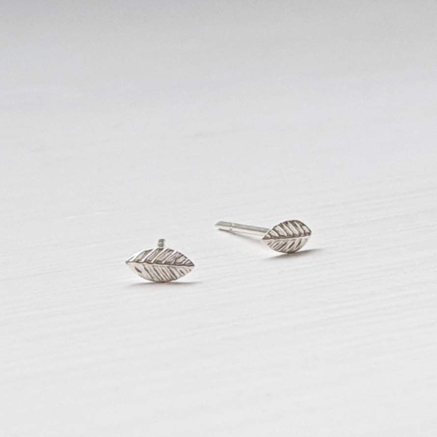 Tiny Sterling Silver Leaf Stud Earrings