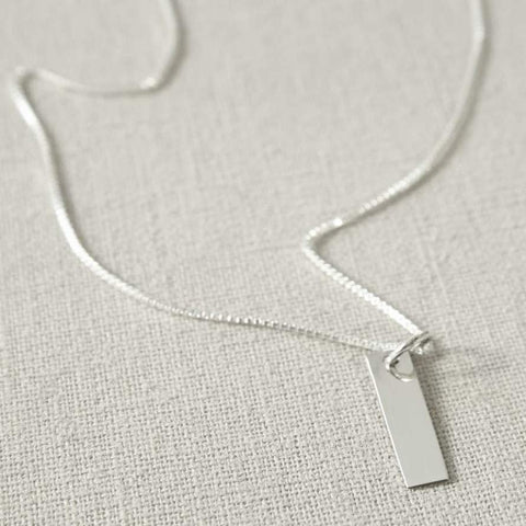 Sterling Silver Rectangle Pendant Necklace