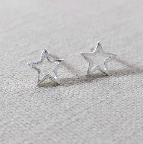Sterling Silver Cut Out Star Earring