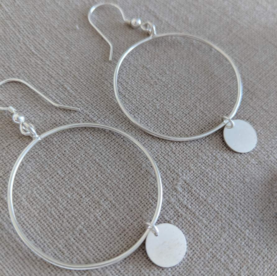 Thai Silver Disc Hoop Earring