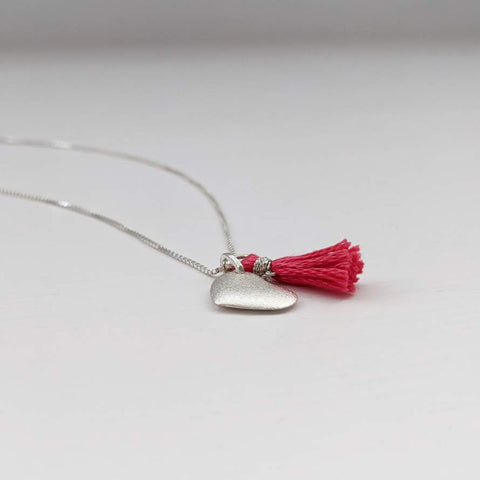 Silver Heart and Tassel Necklace
