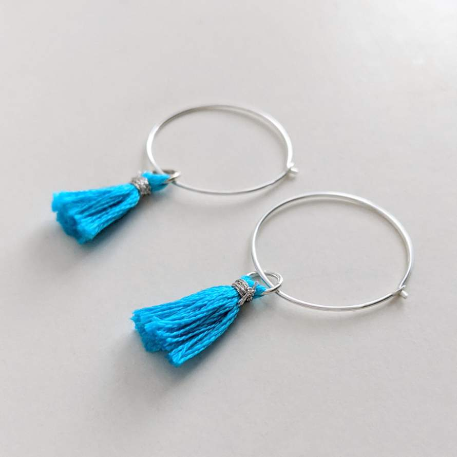 Silver Tassel Hoop Earrings