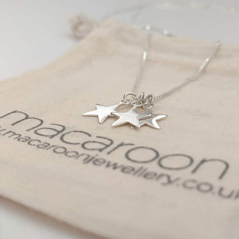 Star Drop Necklace in Sterling Silver