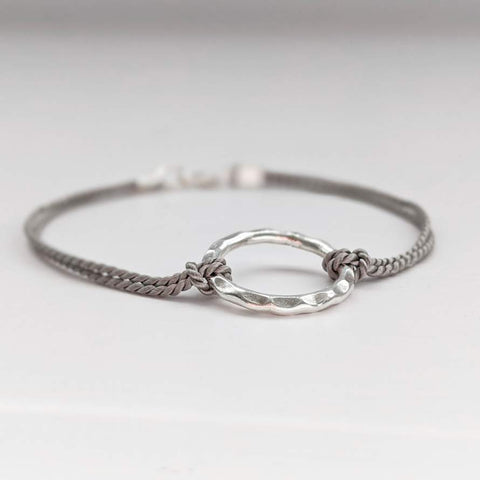 Silver Beaten Loop Friendship Bracelet