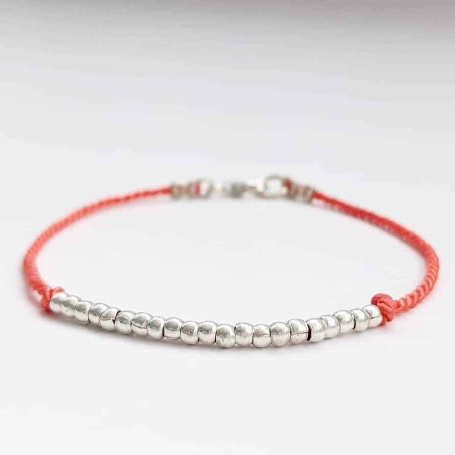 Coral Silk and Thai Silver Bracelet