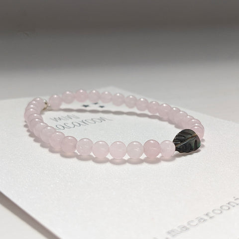 Mini Macaroon Rose Quartz Leaf Bracelet