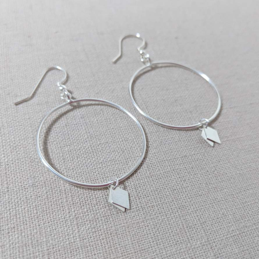 Thai Silver Diamond Charm Earring