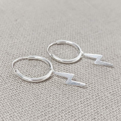 Micro Hoop and Lightning Bolt Earring